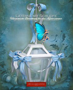 Laterne mit himmelblauer Schleife - Harmonische Beleuchtung für das Kinderzimmer. GBS