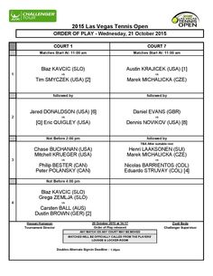 #‎LVTO‬ ORDER OF PLAY - WEDNESDAY, OCTOBER 21, 2015 ‪#‎LASVEGASTENNISOPEN‬ - LAS VEGAS, USA $ 50,000, 19-25 OCTOBER 2015