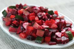 Roast Beet, Feta, Cucumber and Bell Pepper Salad from A Sweet and Savory Life. Includes directions on how to roast beets.