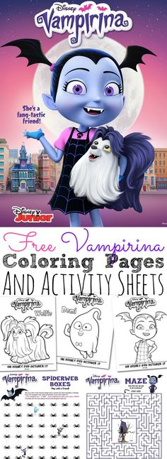 Print out these free Vampirina Coloring Pages and Activity Sheets perfect to celebrate the newest Disney Junior animated series! Disney Activities, Activities For Kids, 5th Birthday Party Ideas, 4th Birthday, Free Disney Coloring Pages, Disney Junior, Disney Jr, Halloween Coloring, Activity Sheets