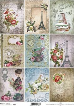 Rice Paper Decoupage Decopatch Sheet Vintage Assortment Writing Flowers Teacups in Crafts, Cardmaking & Scrapbooking, Decoupage | eBay