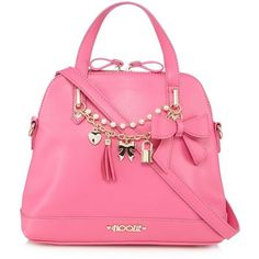 Floozie by Frost French Pink charm bow kettle bag ($40) ❤ liked on Polyvore featuring bags and handbags