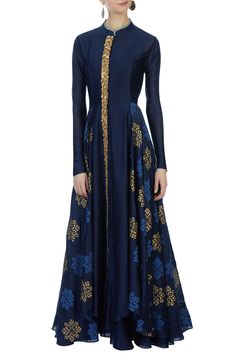 Buy Navy blue chanderi jacket & inner by Aksh at Aza Fashions Indian Gowns, Pakistani Dresses, Indian Outfits, Abaya Fashion, Indian Fashion, Fashion Dresses, Look Short, Embellished Gown, Muslim Dress