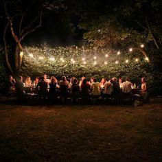 Enchanting backyard setting for an outdoor evening dinner