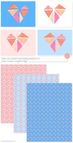 Free Printable: Geo Hearts Patterned Paper Set - Creature Comforts