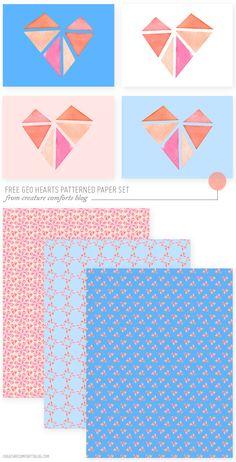 free-geo-hearts-paper-set