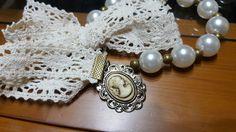 Collar puntilla y perlas