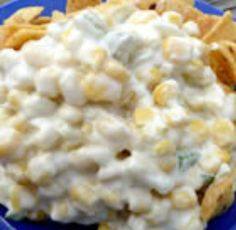 The greatest and most addictive corn dip: 2 cans drained Mexicorn, 1 small can of diced green chiles, 3 green onions (I use chopped white part only), 1c mayonnaise of choice (I prefer Hellmann's), 1c sour cream, and 1 12oz package of finely shredded cheddar cheese. Combine all ingredients in a large bowl. Goes well with Wheat Thins, Fritos, or your favorite crackers or tortilla chips. ENJOY ;)