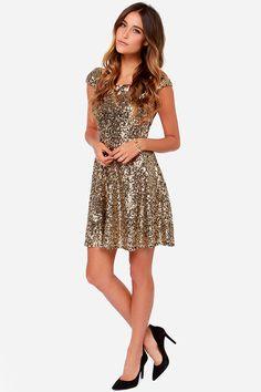 LULUS Exclusive Livin' the Gleam Gold Sequin Dress at Lulus.com!