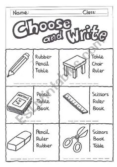 Choose and write -classroom objects - ESL worksheet by quietman English Activities For Kids, Learning English For Kids, English Worksheets For Kids, First Day Of School Activities, English Lessons For Kids, Teaching English, Free Printable Alphabet Worksheets, Vocabulary Worksheets, School Worksheets