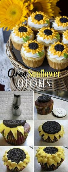 Cupcakes So Cute They're Almost Impossible to Eat Get the Recipe ? Oreo Sunflower Cookies /recipes_to_go/Get the Recipe ? Oreo Sunflower Cookies /recipes_to_go/ Cupcake Recipes, Baking Recipes, Dessert Recipes, Cupcake Cupcake, Baking Desserts, Party Recipes, Baking Cookies, Cupcake Cookies, Just Desserts