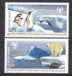 India 2009 Penguins Polar Bear Antarctic 2V SET N26755   eBay