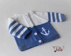 Ready to ship Size Newborn Baby boy sweater anchor sweater wool cardigan knitted sweater merino sale baby shower new baby - Babykleidung Baby Boy Knitting Patterns, Baby Sweater Knitting Pattern, Baby Hats Knitting, Knitting For Kids, Knitted Baby, Knitting Ideas, Knitting Quotes, Knitted Romper, Cardigan Bebe