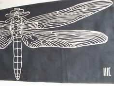 """akizu...dragonfly c/# sumi black  tenugui """"cu3"""""""