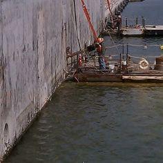 Core drilling along a dock wall