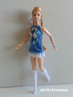 BARBIE DOLL CLOTHES Handmade DRESS + SOCKS + JEWELRY Harlequin Fashion........ dolls4emma on ebay