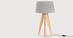 Miller Table Lamp, Natural Wood and Orange | made.com