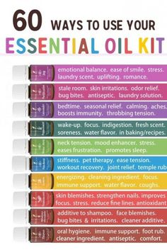60 Ways to use your Essential oil kit from Young Living  #essential oils
