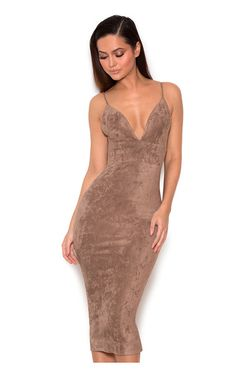 343a0a14af534 Clothing : Bodycon Dresses : 'Vani' Taupe Stretch Suedette Bralet Dress  Party Dresses For