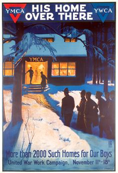 Herter, Albert poster: His Home Over There - YMCA/YWCA, 1918