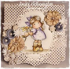 "Card by LLC DT Member Becky Hetherington, using papers from Maja Design's ""Shall we have Coffee"" collection and ""Tilda with Daisy"" from Magnolia."