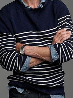 The Nautical Sweater- Very nice casual look on a man Sharp Dressed Man, Well Dressed Men, Fashion Mode, Look Fashion, Guy Fashion, Winter Fashion, Fashion Spring, Fashion Styles, Womens Fashion