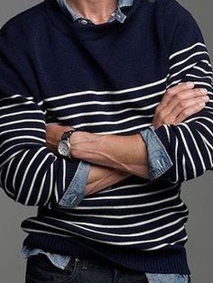 Mens Casual blue striped jumper