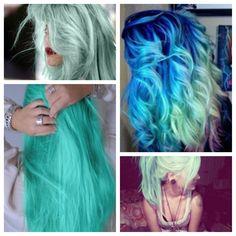 Blue hair, teal hair, mintgreen hair, dipdyed hair.
