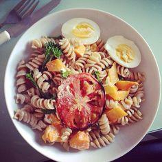 Brown pasta, butternut squash, egg, tomato and feta