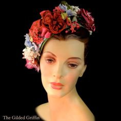 Vintage Bonwit Teller by Lilly Dache Floral Hat, circa 1958.