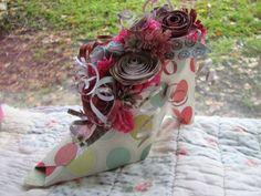 paper flower candy shower centerpieces | Fancy paper shoe with paper flower centerpiece