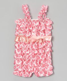 Take a look at this Light Pink Geometric Ruffle Romper - Toddler & Girls by Royal Gem on #zulily today!
