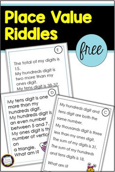 Place Value Riddles for Hundreds and Thousands (Classroom Freebies) Fourth Grade Math, Second Grade Math, Grade 2, Teaching Place Values, Teaching Math, Teaching Ideas, Classroom Freebies, Math Classroom, Classroom Decor