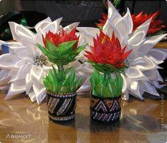 FLOWER TUTORIAL Master class, crafts, product Tsumami Kanzashi: Flower scarlet ribbons.  Photo 19