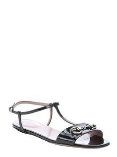 black patent leather t-strap horsebit detail sandals