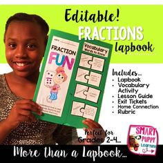 Editable Fraction Lapbook is great for any fraction unit! Great resource for grades 2-4!