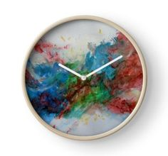 Wall Clock, print,artistic,decorative,items,modern,beautiful,awesome,cool,home,office,wall,decor,decoration,theme,picture,stylish,classy,gifts,presents,ideas,for sale,colorful,white,blue,green,red,abstract,redbubble