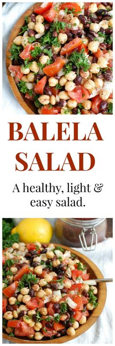 Balela Salad is a light and healthy salad mixing chickpeas, black beans, tomatoes, onion and parsley topped with a lemony sumac dressing with a hint of spice. This works great as lunch, as a side to dinner or topping to your pita, rice bowls or alongside grilled chicken or seafood. #mediterraneanfood #mediterraneandiet #vegetables #vegetarian #glutenfree #vegan #pulses #chickpeas #blackbeans #tomatoes #Middlesternfood #salad #lunch #healthy #cleaneating #wholefoods #sidedish #lemon #oliveoil