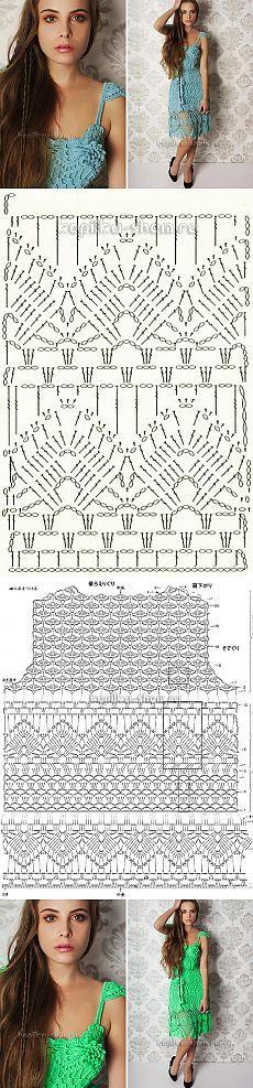Красивый сарафан крючком. Схемы вязания
