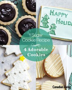 Canadian Living's all-time favourite dessert recipes. Sugar Cookies Recipe, Yummy Cookies, No Bake Desserts, Dessert Recipes, Delicious Cookie Recipes, Cookie Exchange, Recipe For 4, Cookbook Recipes, Christmas Goodies