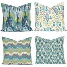 Turquoise Pillows Covers - Teal Pillow Covers - Sofa Pillows - Burlap Pillow Shams - Throw Pillow Cover, Aqua Green Pillow Cover 22 x 22