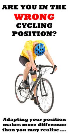 WHAT ARE 5 SIGNS YOU'RE IN THE WRONG CYCLING POSITION? http://thecyclingbug.co.uk/health-and-fitness/training-tips/b/weblog/archive/2015/03/06/5-signs-you-39-re-in-the-wrong-cycling-position.aspx?utm_source=Pinterest&utm_medium=Pinterest%20Post&utm_campaign=ad Something as small as moving your seat down or up half an inch could prevent injury as well as maximuse your power output... #thecyclingbug #cycling #bike