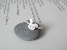 bunny rabbit ring in sterling silver No. 2, handmade in beautiful Cornwall, UK. £26.00, via Etsy.