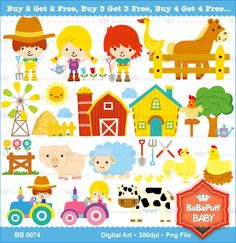 Buy 2 Get 2 Free ---- Barn Animals ---- Personal and Small Commercial Use ---- BB 0074 by babapuffbaby on Etsy