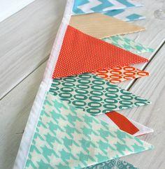 Baby Bunting Fabric Banner Fabric Flags  - Aqua Blue and Orange Chevron.
