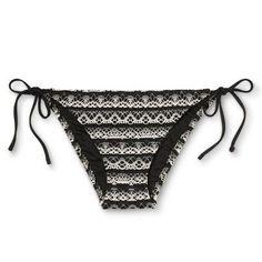 Women's Lace Crochet String Bikini Bottom - Black/White - XS - Mossimo