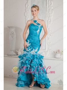 Teal Mermaid One Shoulder Ruch and Appliques Prom Dress High-low Organza- $169.28  http://www.fashionos.com  one shoulder appliqued prom dress | junior plus size celebrity pageant dresses | free shipping prom dress around 150 | 2015 cheap custom made celebrity pageant dress | lene marlins dress