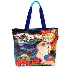 Product Description Laurel Burch Foiled Mikayla Shoulder Tote. This shoulder tote features a whimsical design of a lady with her hair blowing and the sun shining, with an array of colorful flowers. Br