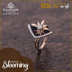 Let your love bloom with this Beautiful Ring. Get OFF* on our Rishta Collection. Visit our nearest showroom today! *Discount available on MRP only. Gold Rings Jewelry, Black Gold Jewelry, Gold Jewellery, Jewelry Shop, Jewelry Design, Gold Finger Rings, Gold Mangalsutra Designs, Gold Jhumka Earrings, Gold Ring Designs