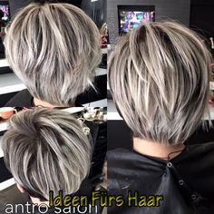 Long Sliced Pixie for Straight Hair Emphasize the depth and volume of short layered hairstyles by adding stripes and splashes of silver-white color over dark brown hair. The sliced locks of this longish pixie-bob create a sturdy and structured s Short Straight Hair, Short Hair With Layers, Short Hair Cuts For Women, Short Hairstyles For Women, Straight Hairstyles, Medium Hairstyles, Short Cuts, Braided Hairstyles, Short Pixie Bob